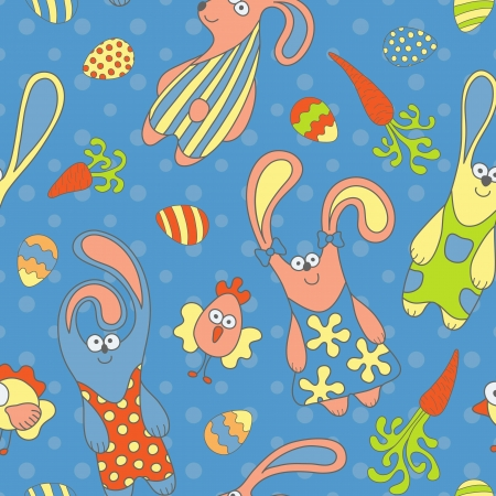 Cute seamless pattern with rabbits, carrots and chickens Vector
