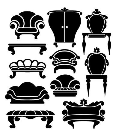 sofa furniture: Set of graphical retro furniture items Illustration