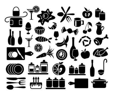 Set of kitchen, cooking and food icons Illusztráció