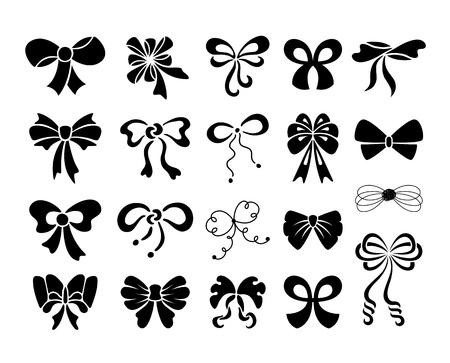 tie bow: Set di fiocchi decorativi grafiche Vettoriali