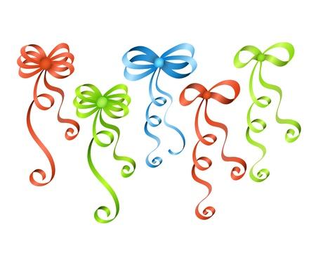 lazo regalo: Coloridos arcos de la cinta Vectores
