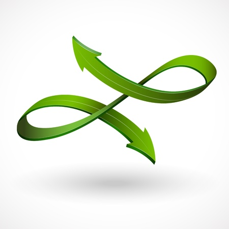 duality: 3d style vector arrow, abstract sign