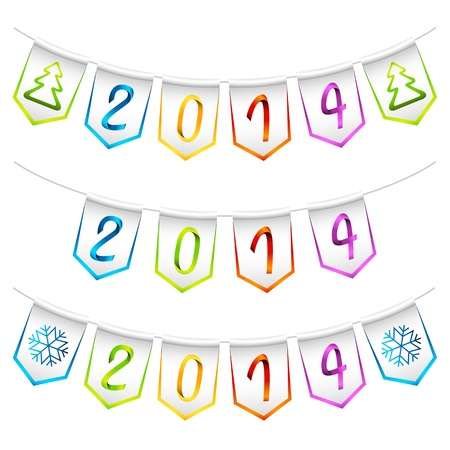 2014 isolated bunting flags, decoration elements Vector