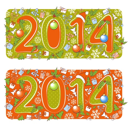 Two Christmas 2014 year cartoon backgrounds, isolated, editable Vector