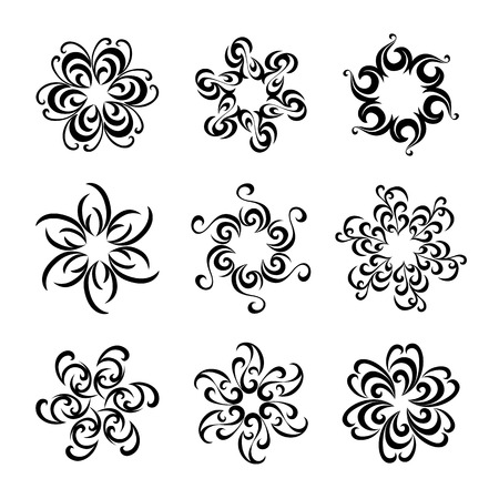 Set of graphic flowers