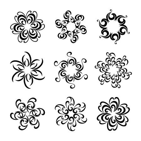 Set van grafische bloemen Stock Illustratie