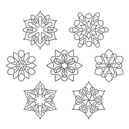 interweaving: Set di fiori astratti con linee che si intrecciano