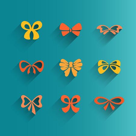 lazo regalo: Conjunto de iconos del arco aislado, vector