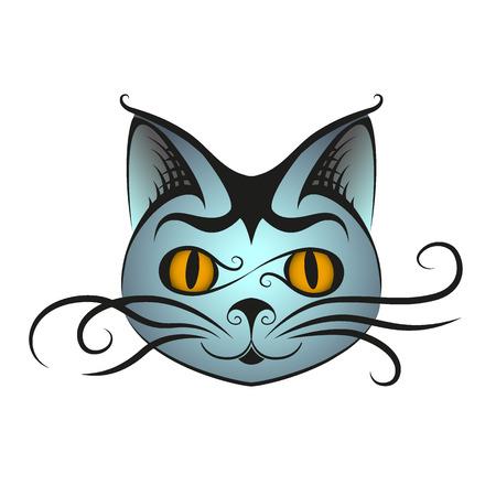 black hair blue eyes: Isolated cat head, vector illustration. Graphical, editable.