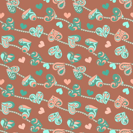 rapport: Seamless vector pattern with hearts, hand drawn, can be used for wrapping, background, textile. Illustration