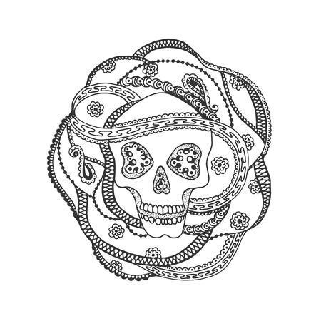 all saint day: Ornamental skull design. Based on a hand drawn sketch.