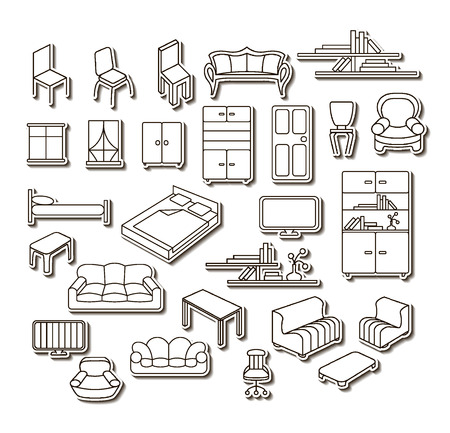 unit: Graphical furniture set, contour icons. Isolated items.
