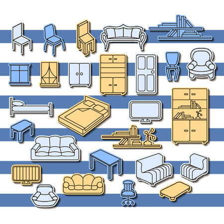tv unit: Graphical furniture set, contour icons. Isolated items.