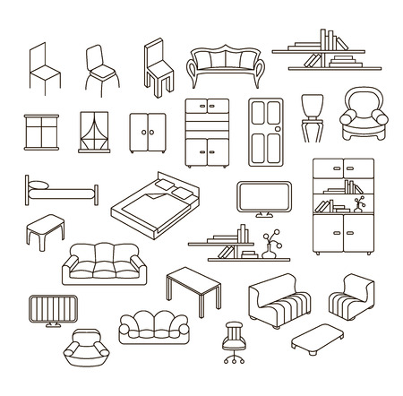 tv unit: Graphical furniture set, contour empty icons. Isolated items on white.
