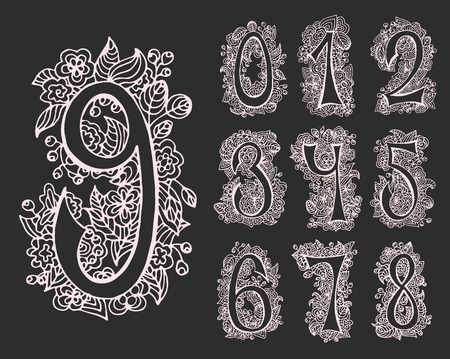 Vector set of decorative numbers for cards and designs. Hand drawn font and contours. Иллюстрация