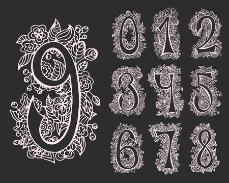 Vector set van decoratieve nummers voor kaarten en ontwerpen. Hand getrokken lettertype en contouren.
