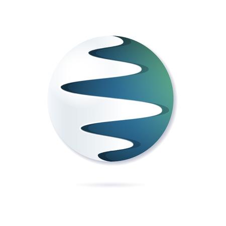 Ronde abstract symbool, gestileerd planeet, symbool van flexibiliteit, integratie, combinatie. Kan gebruikt worden als bedrijfslogo, logo voor project, web-pictogram. Vector, geïsoleerde