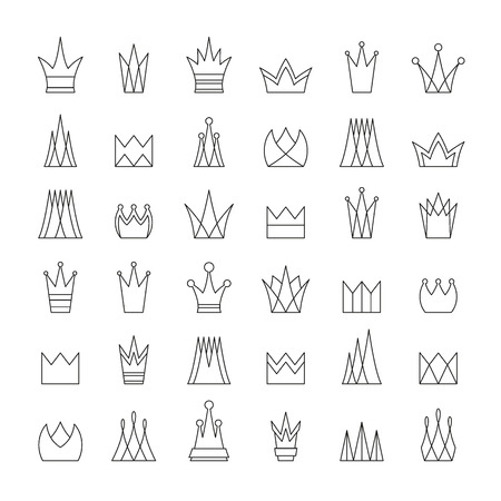 Set of flat contour crowns. Isolated, editable. Can be used as logotypes or icons.