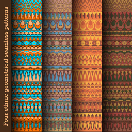 cultural history: Four coloured seamless ethnic pattens. For backgrounds, covers, textile.