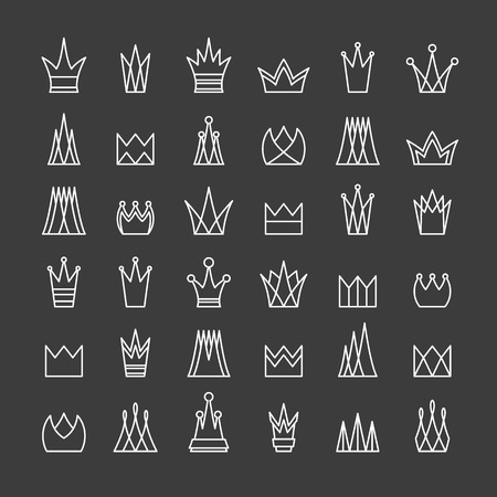 crown logo: Set of flat contour crowns. Isolated, editable. Can be used as logotypes or icons.
