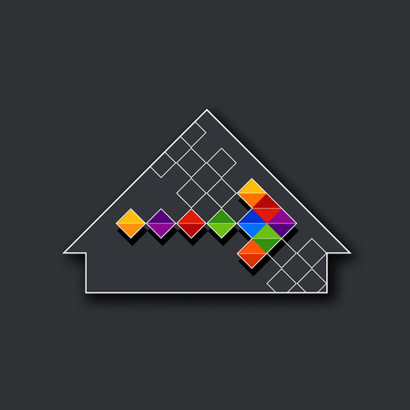 Conceptual house design image. Vector, isolated symbol. Can be used as corporate, project sign, or as a background. Vector