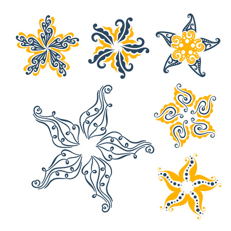 sea star: Set of graphical flowers. Isolated, editable.