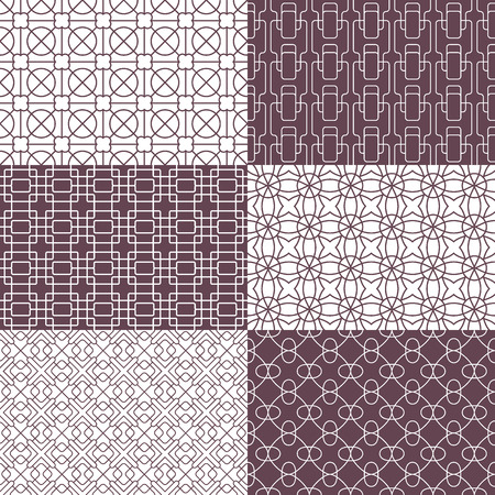 straight edge: Geometrical seamless patterns. Editable, no gradients and clipping mask.