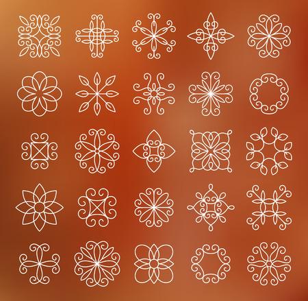 deco art: Set of contour line flowers, empty, monochromatic.
