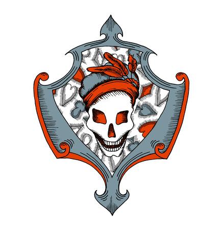 Retro stylized illustration, skull in beret, joker. Isolated on white. Vector