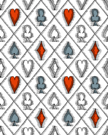cross hatching: Seamless pattern with card suits, hand drawn symbols. No clipping mask and gradients.