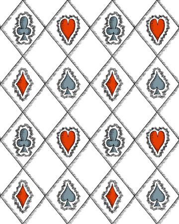 poker hand: Seamless pattern with card suits, hand drawn symbols. No clipping mask and gradients.