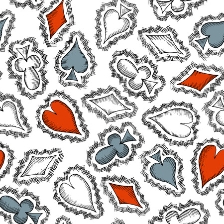 Seamless pattern with card suits, hand drawn symbols. No clipping mask and gradients. Vector