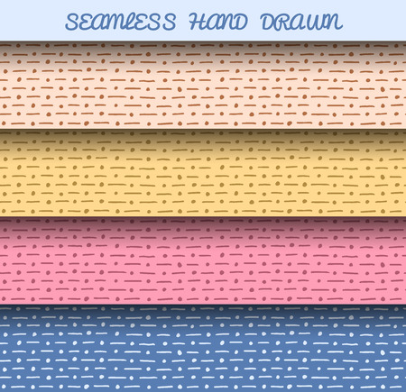 clipping mask: Seamless hand drawn patterns. Editable colors, without gradients and clipping mask. Illustration