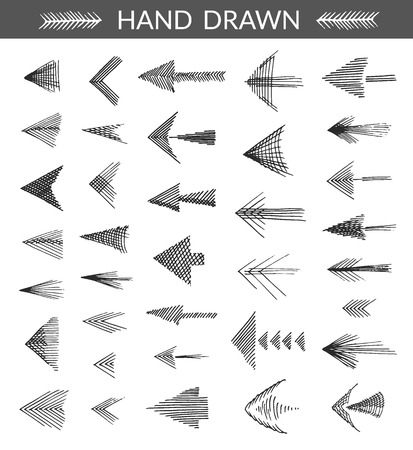 Set of hand drawn arrows. Isolated objects, made with strokes by ink pen, monochromatic. Vector