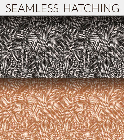 clipping mask: Two seamless hatching patterns. Hand drawn, editable colors, without gradients and clipping mask.