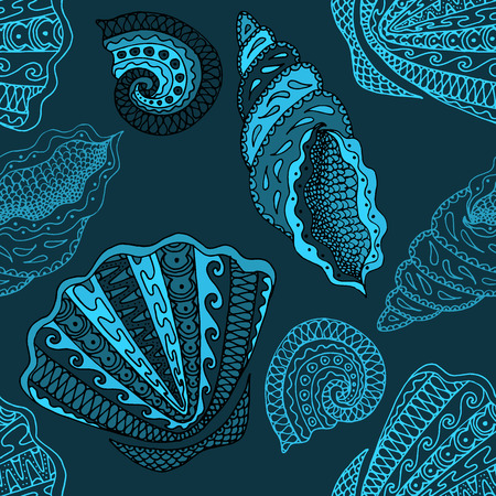 Seamless seashell pattern. Based on hand drawn sketch, without gradients and clipping mask.