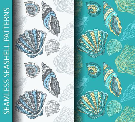 Seamless seashell patterns. Based on hand drawn sketch, without gradients and clipping mask. Vector