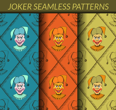 Joker seamless patterns based on a hand drawn sketch. No gradients and clipping mask. Vector