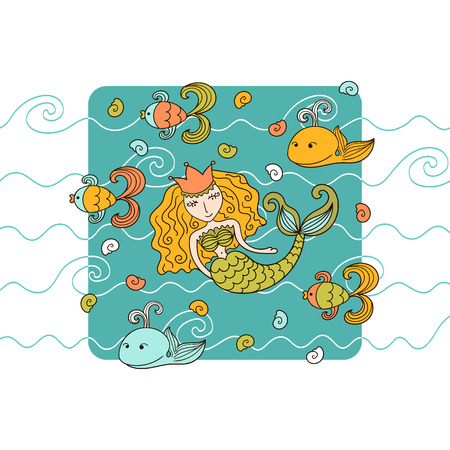 water nymph: Cartoon background with mermaid and marine inhabitants Illustration