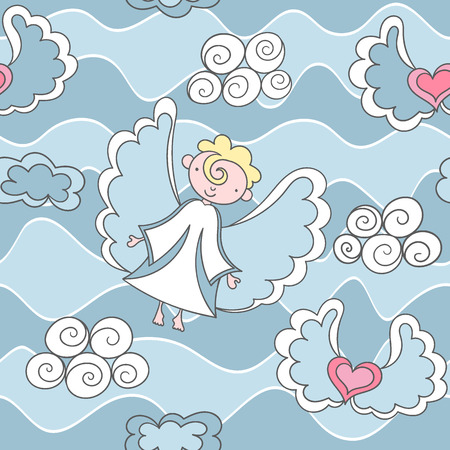 cute angel: Cartoon seamless pattern with angels and hearts. Illustration