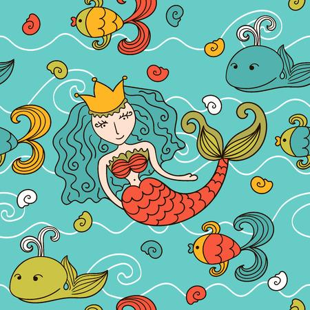 inhabitants: Cartoon seamless con abitanti sirena e marini Vettoriali