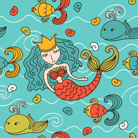 Cartoon seamless pattern with mermaid and marine inhabitants Vector