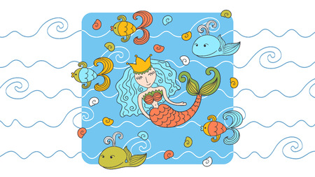 Cartoon background with mermaid and marine inhabitants Vector