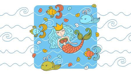 Cartoon background with mermaid and marine inhabitants Vector