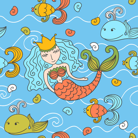 Cartoon seamless pattern with mermaid and marine inhabitants Vector