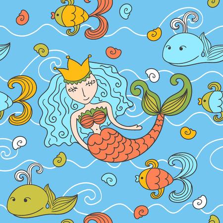 water nymph: Cartoon seamless pattern with mermaid and marine inhabitants