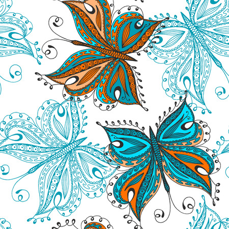 clipping mask: Seamless butterfly pattern. Hand drawn butterflies. No gradients and clipping mask.