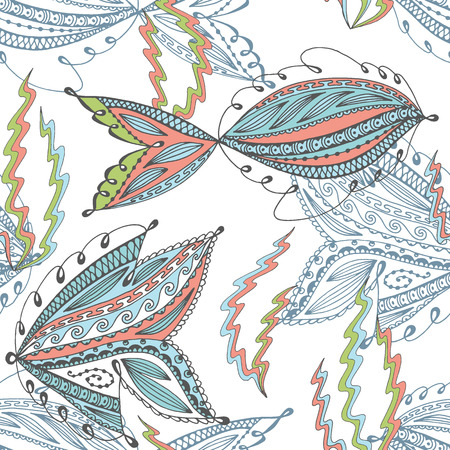 clipping mask: Seamless underwater life pattern. Hand drawn fish and seaweed. No gradients and clipping mask.