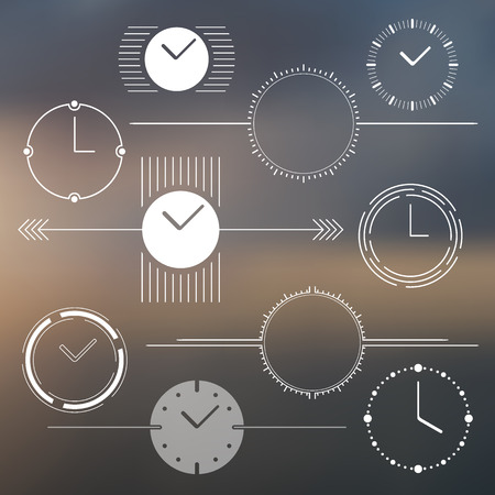 chronograph: Set of vector watch design elements. Monochromatic. Illustration