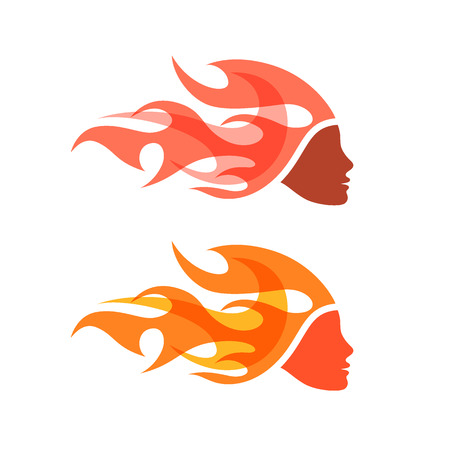 Two isolated. Woman with flame hair. Creative, icon or pictogram.
